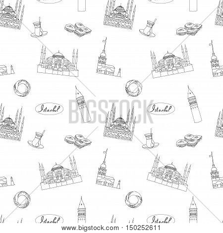 Black and white Istanbul tourist vector  textile print seamless pattern. Istanbul landmarks background.