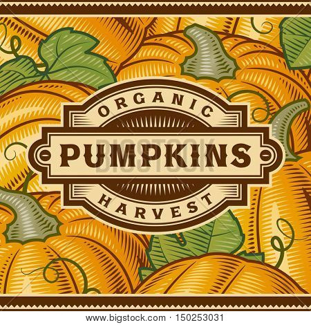 Retro Pumpkin Harvest Label. Editable vector illustration in woodcut style with clipping mask.