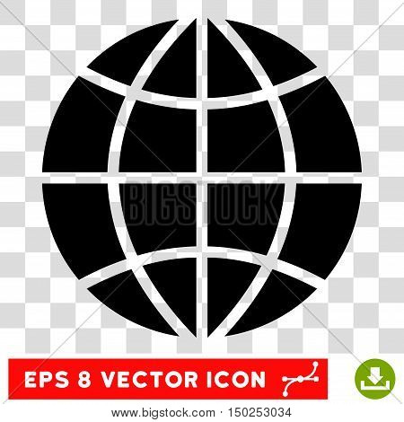 Vector Planet Globe EPS vector pictograph. Illustration style is flat iconic black symbol on a transparent background.