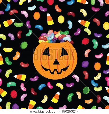 Trick or treat jack'o lantern halloween vector card. Seamless pattern with sweets, jelly beans and candy corn.