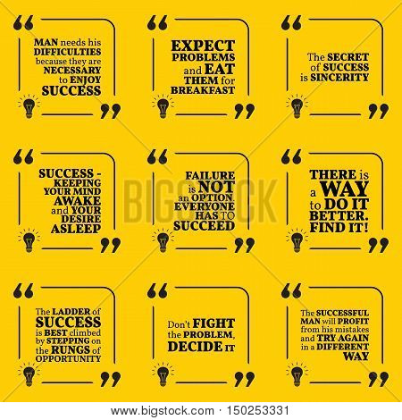 Set Of Motivational Quotes About Achievement, Success, Sincerity, Difficulties And Opportunity. Simp