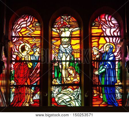 Paray Le Monial France - September 13 2016: Shrine of St. Claude de la Colombiere in Paray-le-Monial France stained glass windows of the church