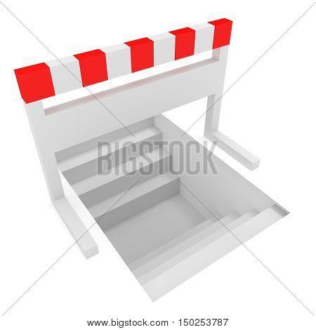Creative Solution: Stairways Under A Hurdle 3d illustration