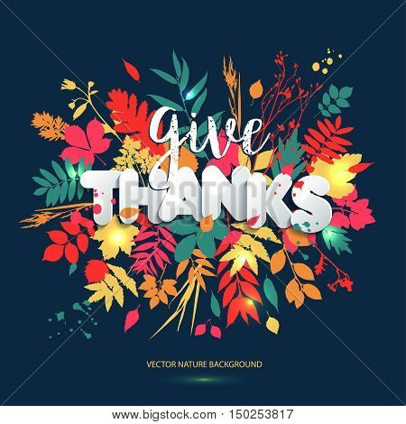 Happy Thanksgiving Day In Calligraphic Hand Drawn Style And Paper Style. Fall Style For Autumn.