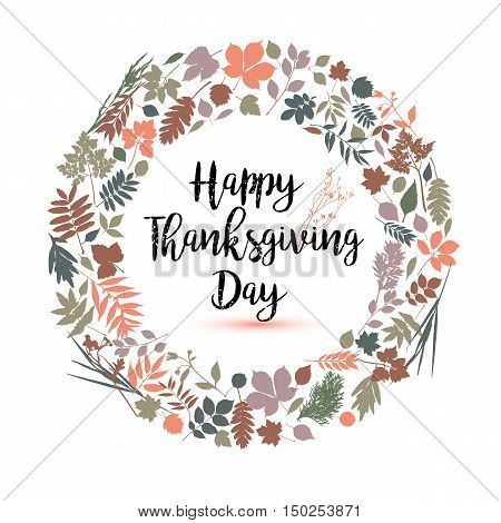 Happy Thanksgiving Day In Calligraphic Hand Drawn Style. Fall Style For Autumn.