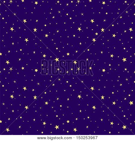 Space stars background, night sky and stars blue and yellow seamless vector pattern.