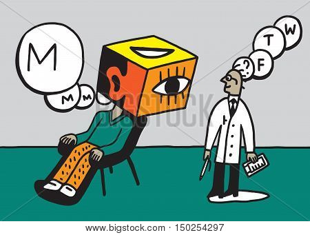 doctor psychiatrist and patient vector illustration , design element