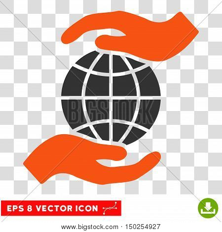 Vector Global Insurance Hands EPS vector pictograph. Illustration style is flat iconic bicolor orange and gray symbol on a transparent background.