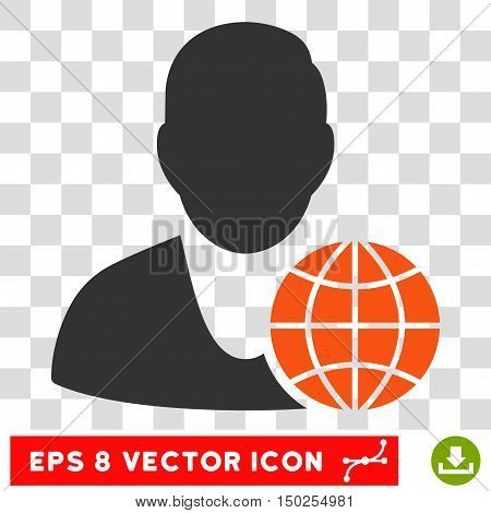 Vector Global Manager EPS vector pictograph. Illustration style is flat iconic bicolor orange and gray symbol on a transparent background.