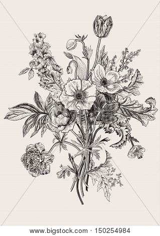 Victorian bouquet. Spring Flowers. Poppy anemones tulips delphinium. Vintage botanical illustration. Vector design element. Black and white. Engraving