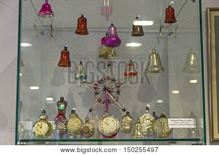 KLIN RUSSIA - JANUARY 16 2016: Old Soviet Christmas toys in the form of clocks and bells. 40th-60th yeares of the twentieth century. Museum of Christmas toys.