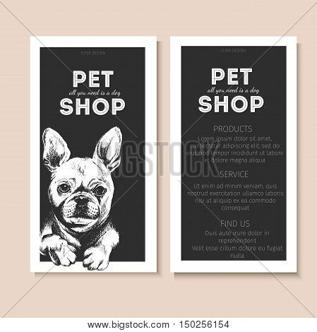 Vector set of pet shop flyers. Dog portrait isolated on black square text template. Black informational list. Use for pet clinic store food market veterinary pharmacy advertising sale discount