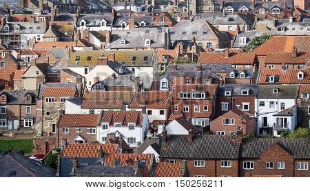 A view of roofs at Whitby Yorkshire UK