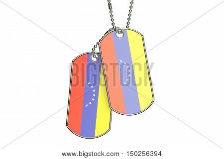 Venezuelan Dog Tags 3D rendering isolated on white background