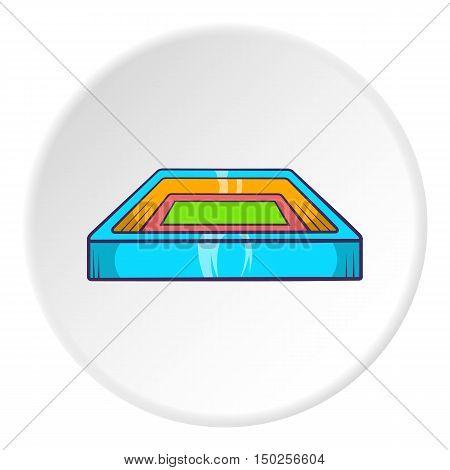 Square stadium icon in cartoon style isolated on white circle background. Sports facility symbol vector illustration
