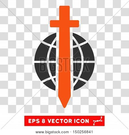 Vector Sword Globe EPS vector icon. Illustration style is flat iconic bicolor orange and gray symbol on a transparent background.