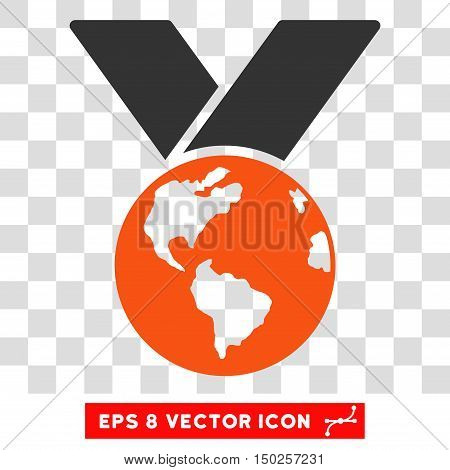 Vector World Medal EPS vector icon. Illustration style is flat iconic bicolor orange and gray symbol on a transparent background.