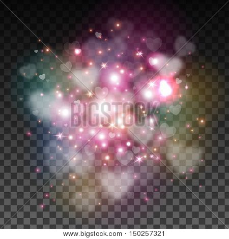 Abstract Light Overlay Effect on Transparent Background for Valentines Day Design. Vector Illustration. Heart, Bokeh and Sparkles.