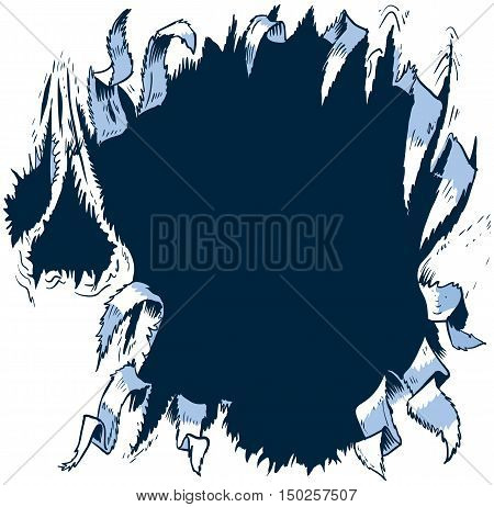 This vector cartoon clip art illustration template is designed to appear as though something behind the background is ripping or tearing a tattered hole through to the other side. What that will be is up to you!