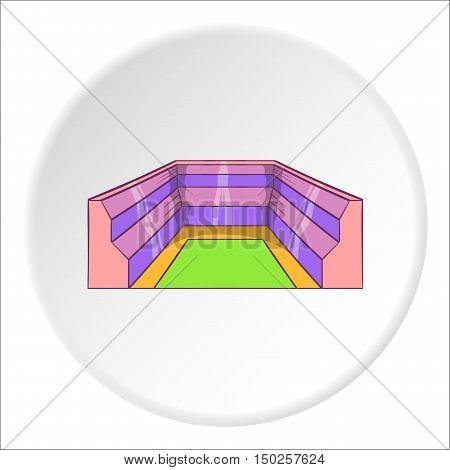 Rectangular stadium icon in cartoon style isolated on white circle background. Sports facility symbol vector illustration