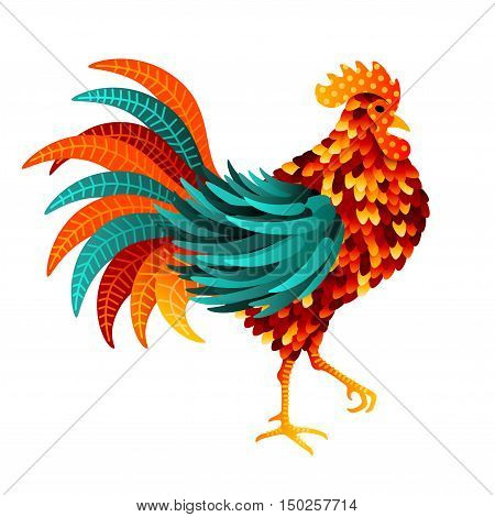 Chinese 2017 New Year Symbol - Rooster. Vector illustration. Colorful Bird with Beautiful Feathers.
