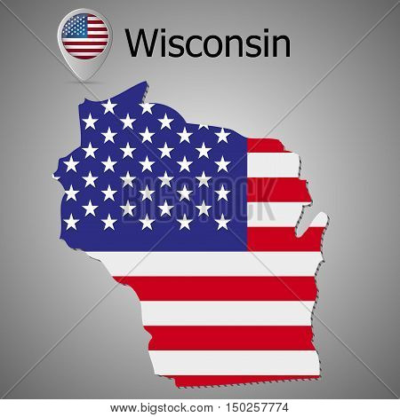 Wisconsin State map with US flag inside and Map pointer with American flag