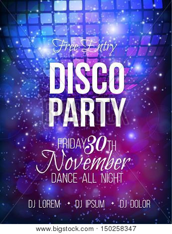 Disco party vector poster template with sparkle ball and glitter , glow light effect.