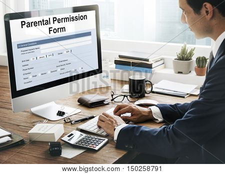 Parental Permission Form Consent Endorsement Concept