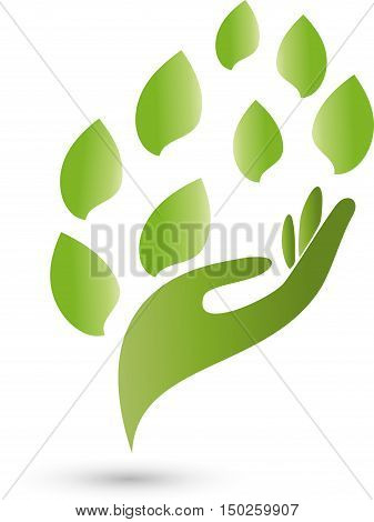 Hand, leaves in green, medical practitioners logo