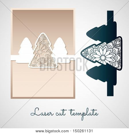 Openwork paper decor with Christmas trees. Laser cutting template for greeting cards and invitations.