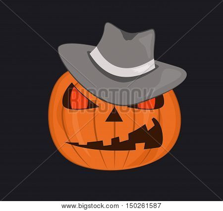Halloween pumpkin in gangster hat. Vector illustration