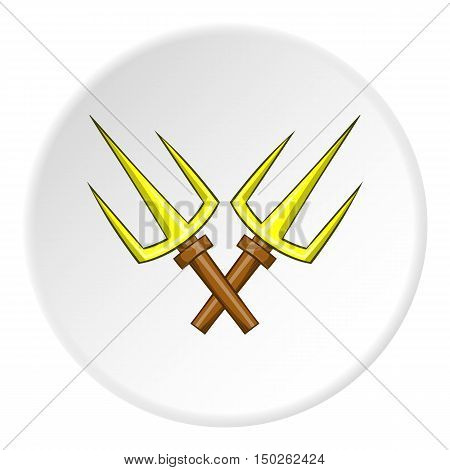 Crossed tridents icon in cartoon style isolated on white circle background. Weapon symbol vector illustration