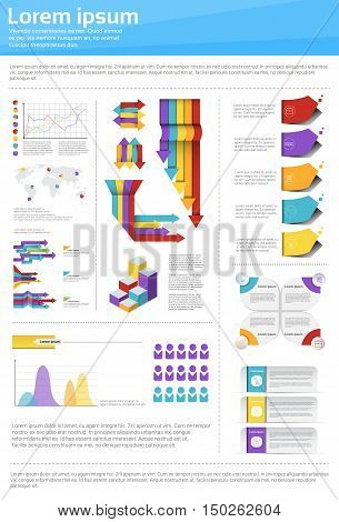 Graph Set Finance Diagram Infographic Icon Financial Business Chart Flat Vector Illustration