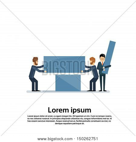 Business People Group Work Together Team Support Teamwork Concept Flat Vector Illustration