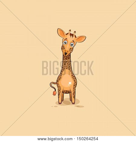 Vector Stock Illustration isolated Emoji character cartoon Giraffe surprised with big eyes
