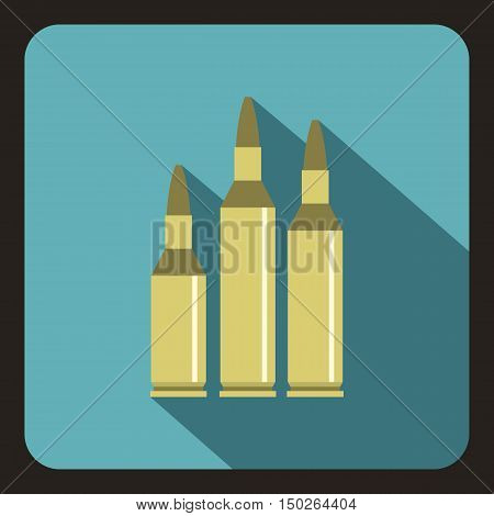 Bullet ammunition icon in flat style with long shadow vector illustration
