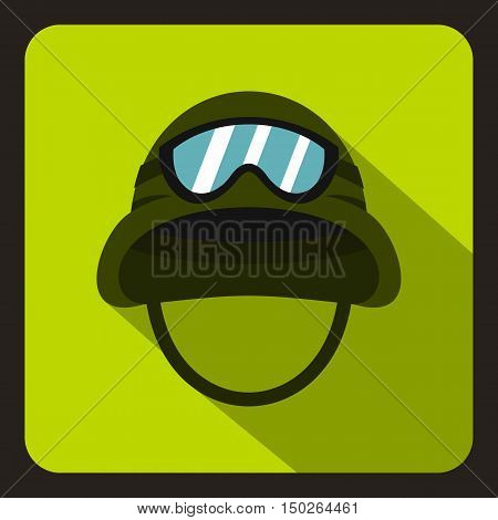 Military metal helmet icon in flat style with long shadow vector illustration