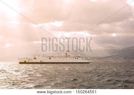Ferry Boat In Messina Strait