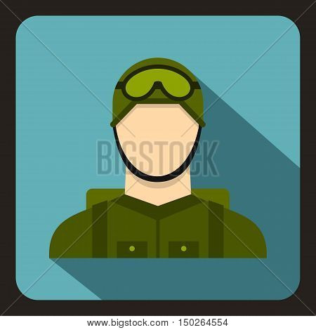 Military paratrooper icon in flat style with long shadow vector illustration