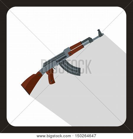 Submachine gun icon in flat style with long shadow vector illustration