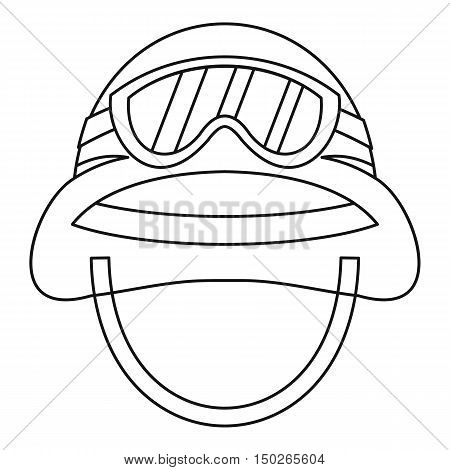 Military metal lhelmet icon in outline style isolated on white background vector illustration
