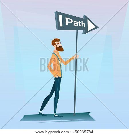 Businessman Choose Path Way Sign Board Road Flat Vector Illustration