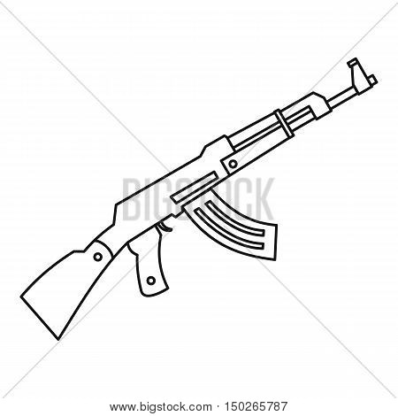 Submachine gun icon in outline style isolated on white background vector illustration