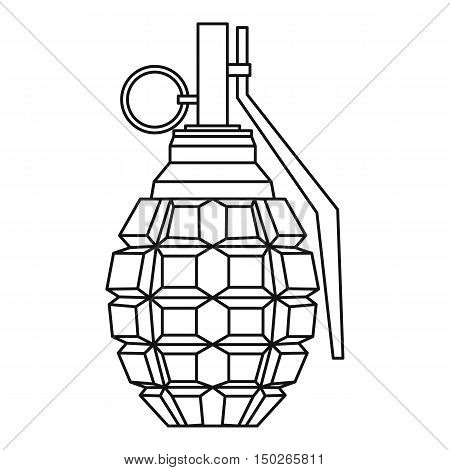 Hand grenade, bomb explosion icon in outline style isolated on white background vector illustration