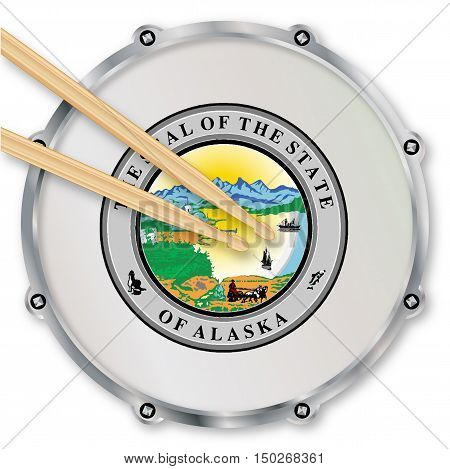 Alaska state seal snare drum batter head with tuning screws and with drumsticks over a white background