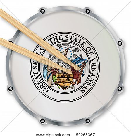 Arkansas state seal snare drum batter head with tuning screws and with drumsticks over a white background