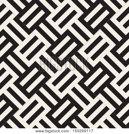 Vector Seamless Black And White Stripes Pattern. Abstract Geometric Background Design