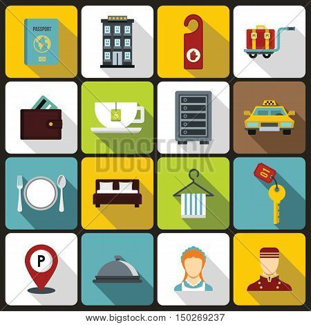 Hotel icons set in flat style. Hotel accommodation services set collection vector illustration