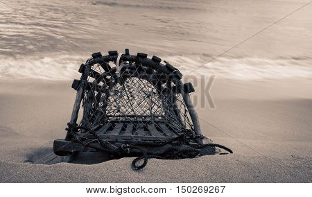 Lobster trap on beach in prince edward island