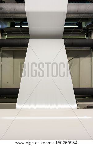 Plastic White Blank Print Feed Flexo Industry Printing Roll Processing Surface Operational Detail Cl